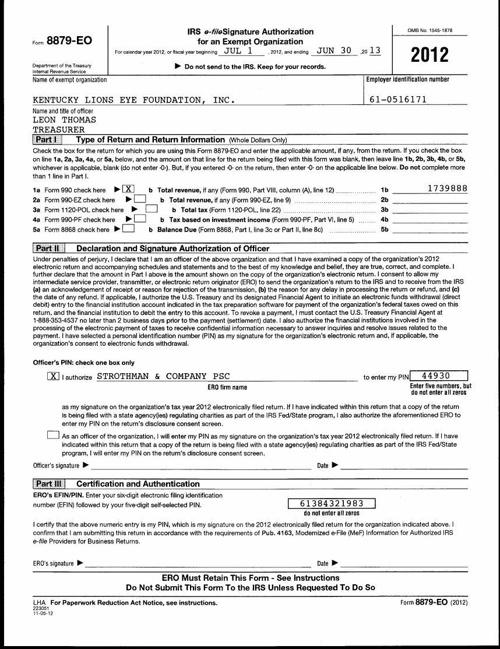 Form 990 for 2012-2013
