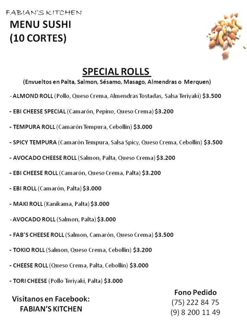 FABIAN'S KITCHEN MENU                   FONO: 8200 11 49