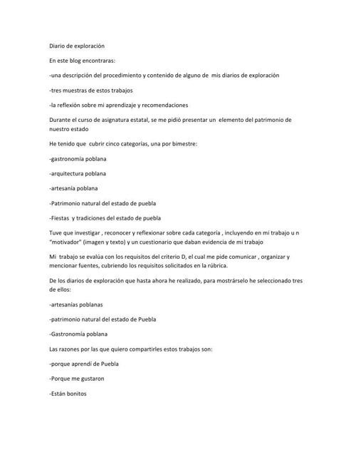 Diario de exploración Blog