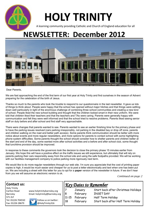 Holy Trinity Newsletter Dec 2012