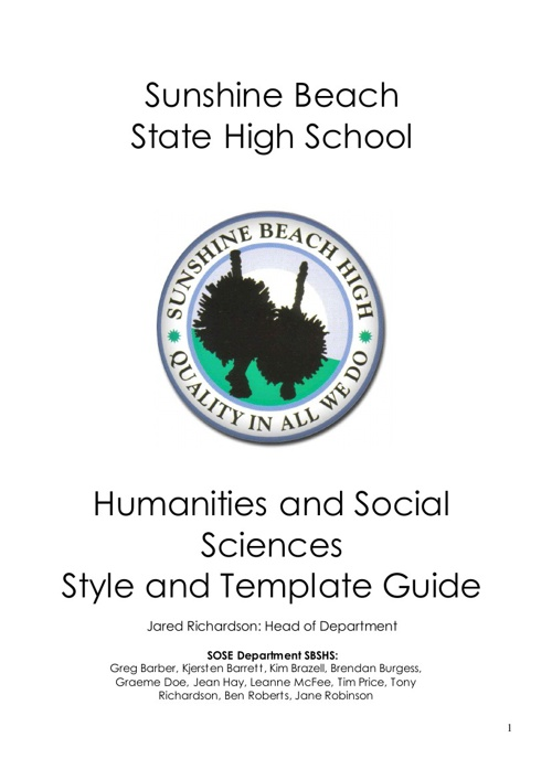 Humanities Style and Template Guide 2013