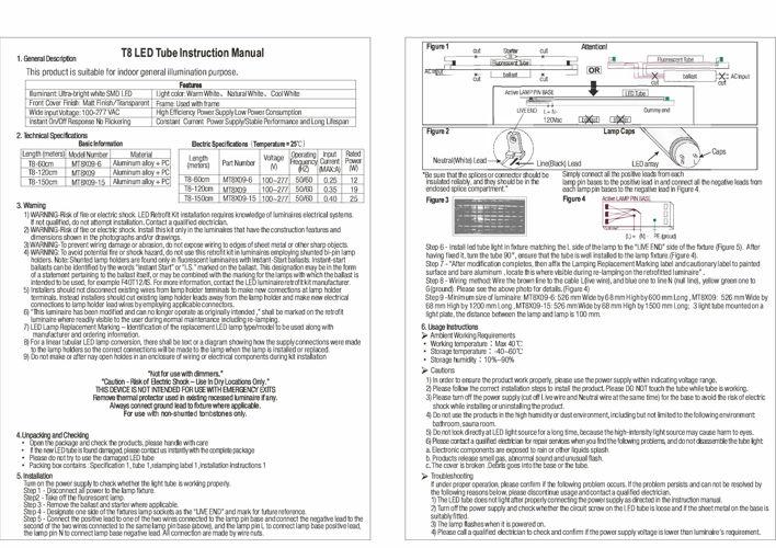 T8 LED Tube Instruction Manual - Forest Lighting USA