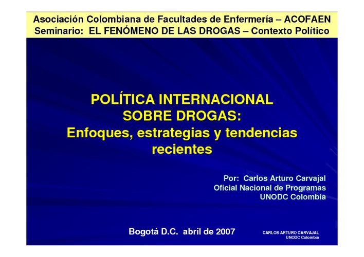 POLITICA INTERNACIONAL SOBRE DROGAS