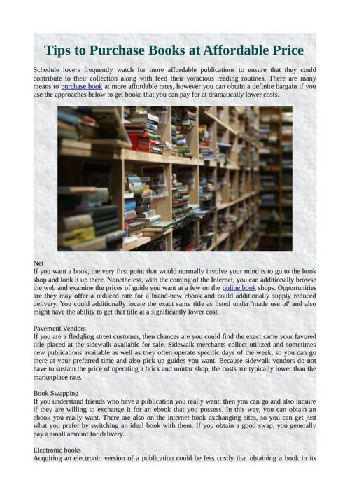 Tips to Purchase Books at Affordable Price