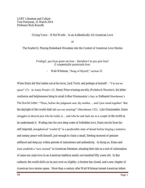 LGBT Lit and Cult - essay 3, LONGER - 3-21-2014