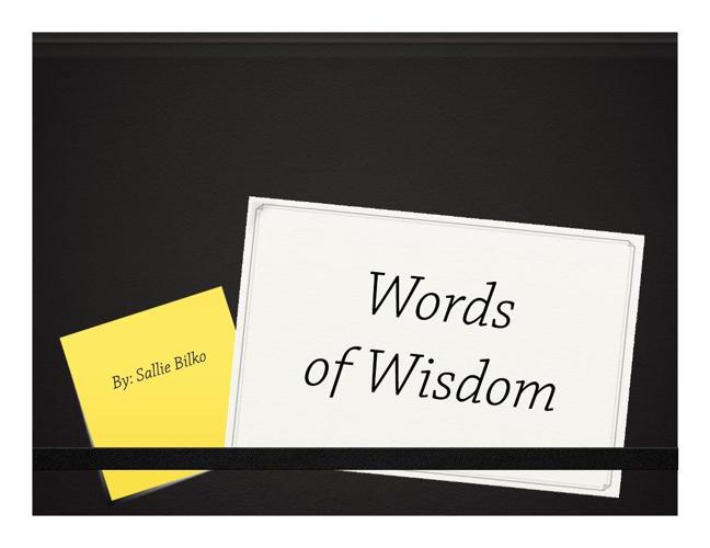 words of wisdom ppt