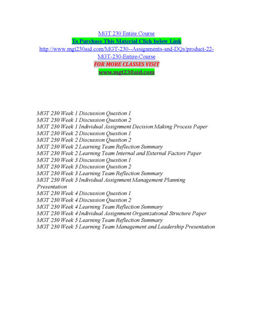MGT 230 Entire Course