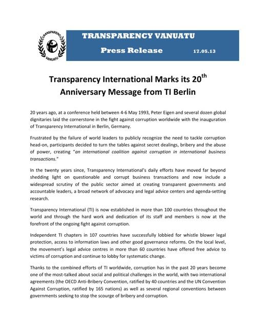 Press Release 17.05.2013