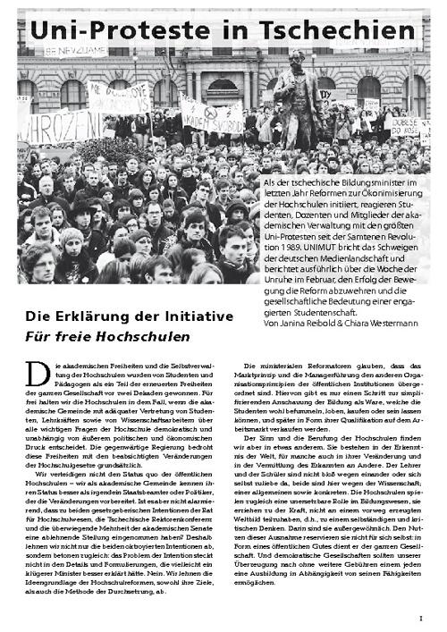 Uni-Proteste in Tschechien (Sonderheft zu un!mut no. 216)