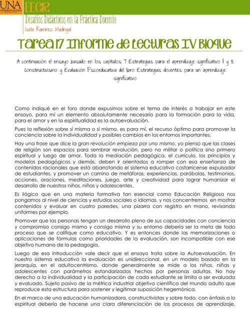 Tarea 17 Informe de Lecturas IV Bloque