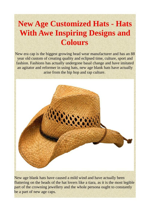 New Age Customized Hats - Hats With Awe Inspiring Designs and Co