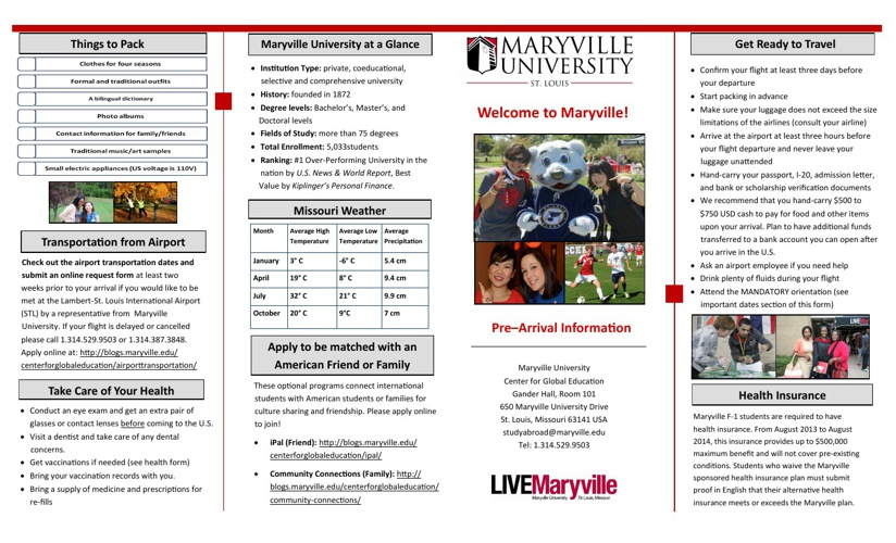 MU Spring 2014 International Student Orientation Catalog