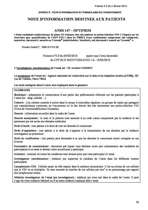extrait protocole optiprim notice patient