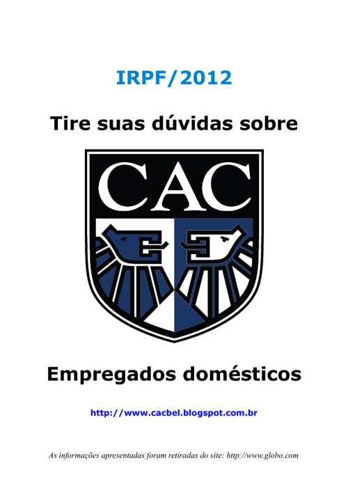 IR 2012 - Empregados domesticos
