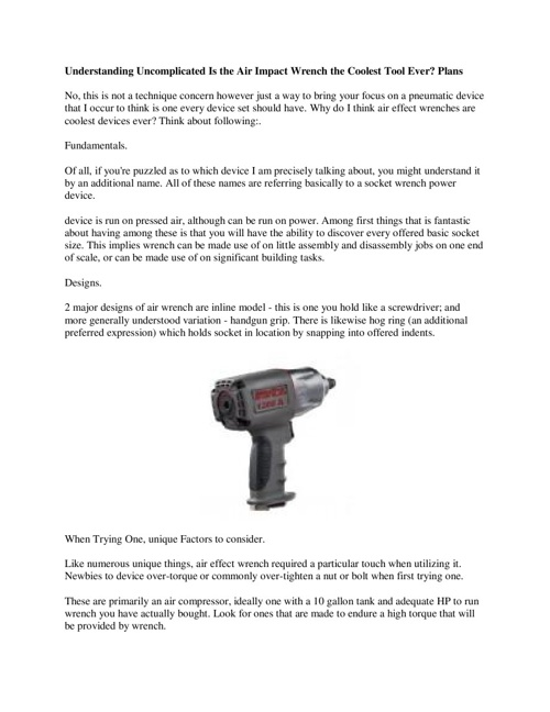 Understanding Uncomplicated Is the Air Impact Wrench the Coolest