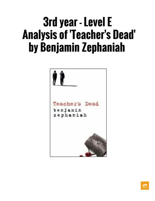 Analysis of 'Teacher's Dead