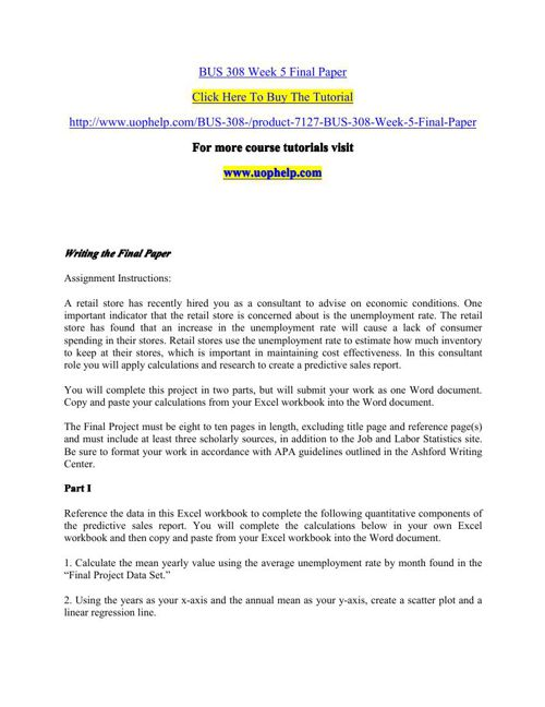 BUS 311 Week 5 Final Paper – You are the manager of Acme Fireworks
