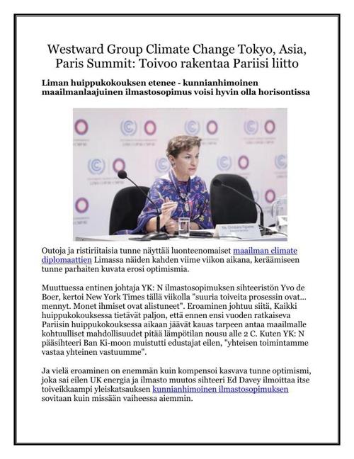 Westward Group Climate Change Tokyo, Asia, Paris Summit: Toivoo