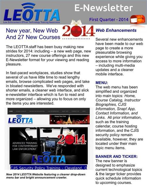 E-Newsletter Quarter 1 2014