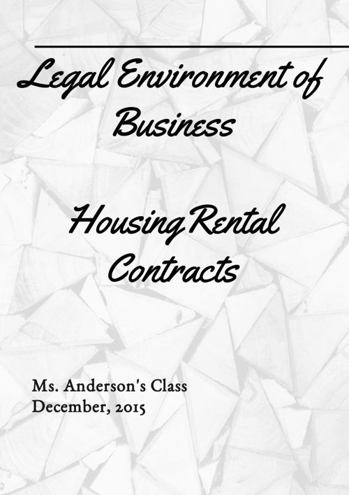 Housing Rental Contract