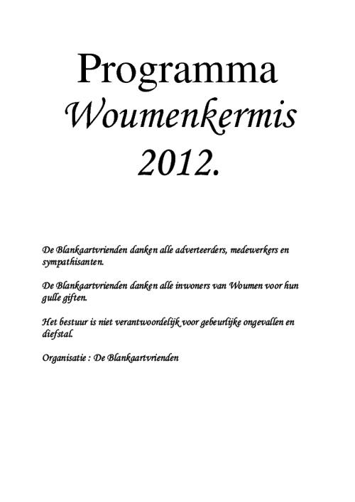 Kermisprogramma WOUMEN 2012