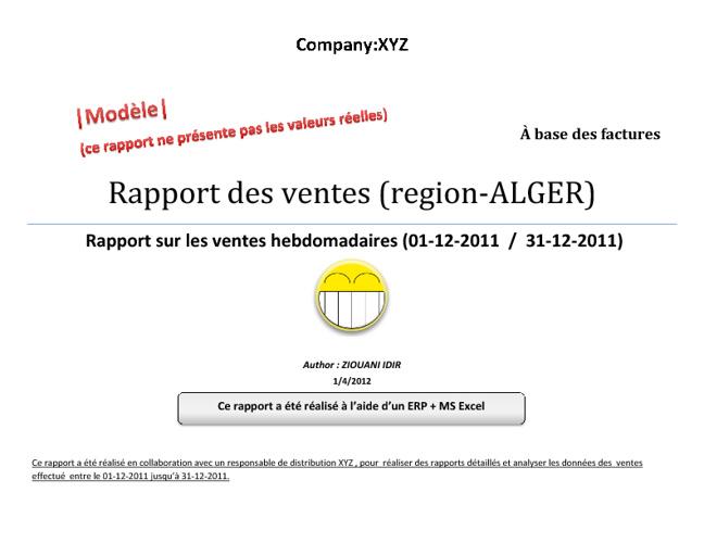 Rapport des ventes (region-ALGER)| Agro-alimentaires