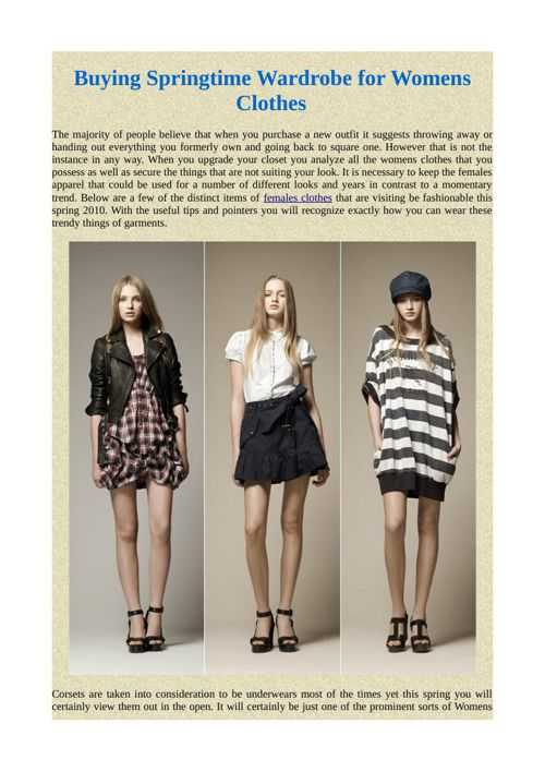 Buying Springtime Wardrobe for Womens Clothes