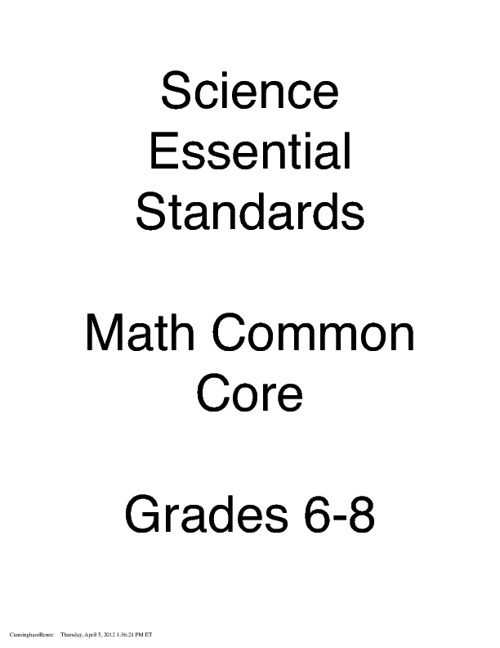 Middle School Science Essential Standards and Math Common Core