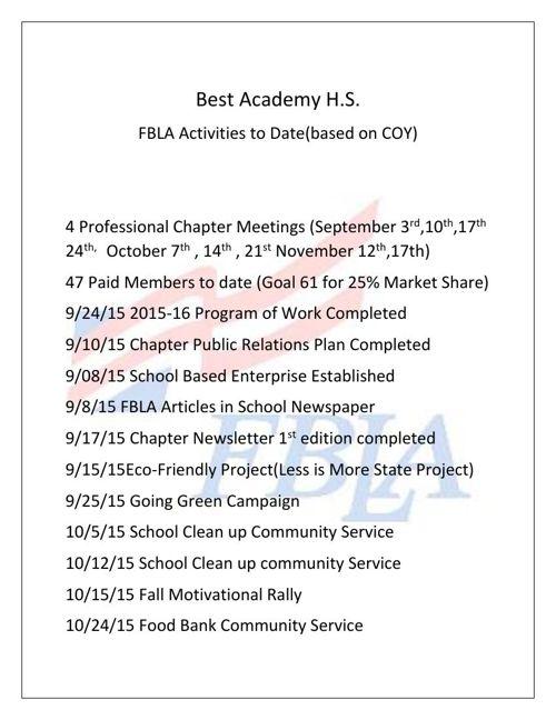 FBLA Activities to Date7