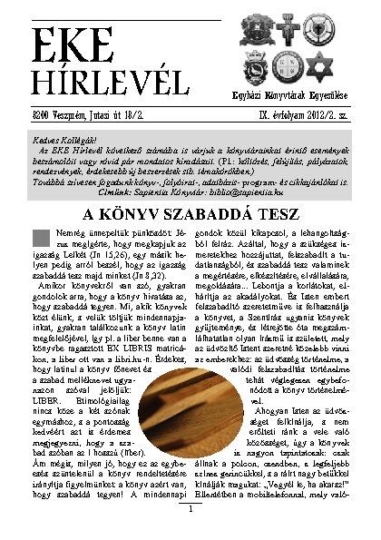 EKE HÍRLEVÉL 2012. 9. évfolyam. 2. szám
