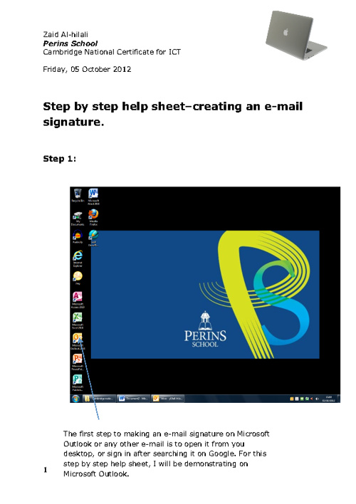 Step by step help sheet - e-mail signitures