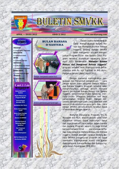 Buletin Sek. Men. Vokasional Kuala Klawang Edisi 2 2012