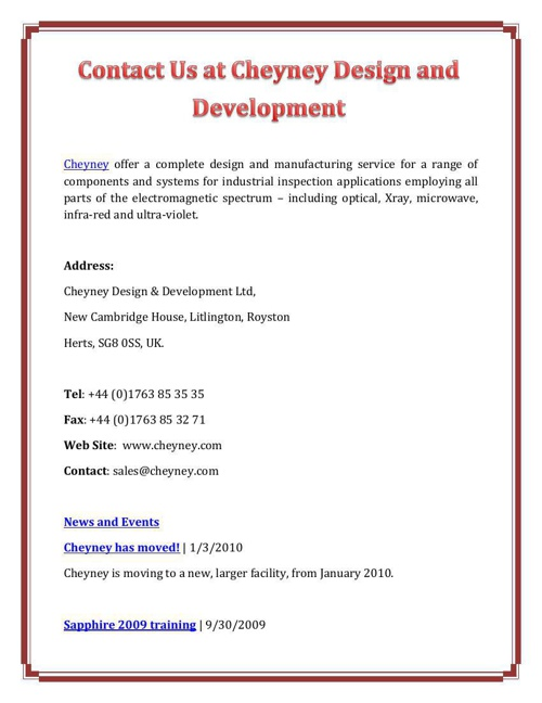 Contact Us at Cheyney Design and Development
