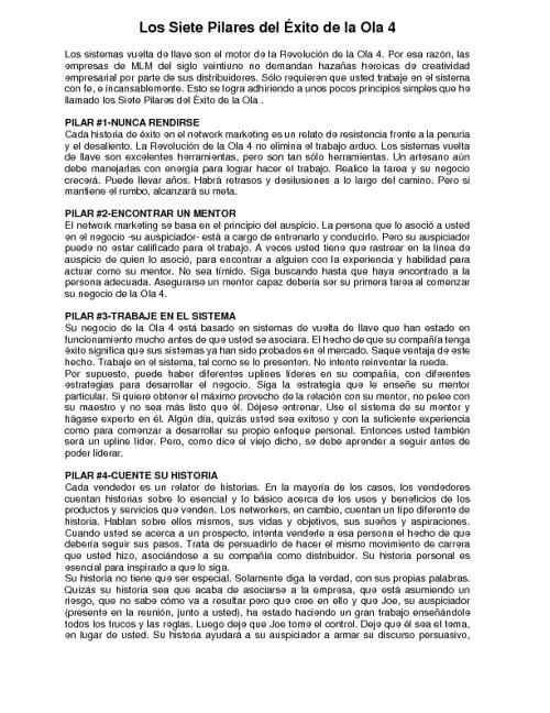 LOS 7 PILARES DEL EXITO DE LA OLA 4