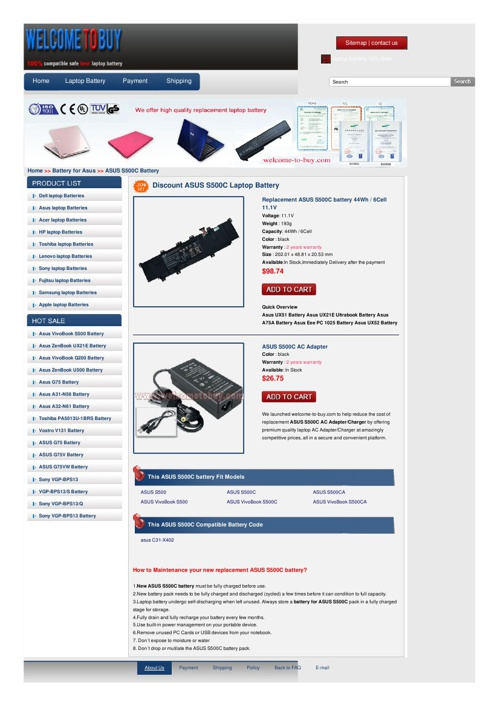 ASUS S500C Battery