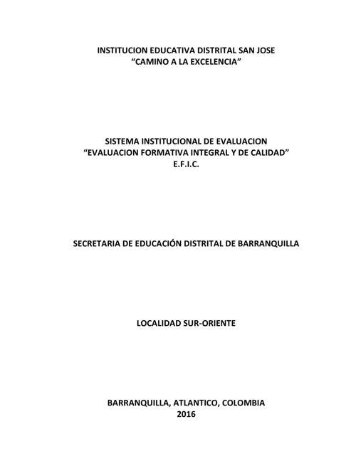 SISTEMA INSTITUCIONAL DE EVALUACIÓN IED SAN JOSÉ