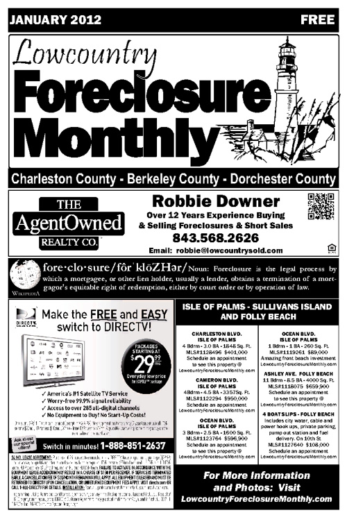 Lowcountry Foreclosure Monthly