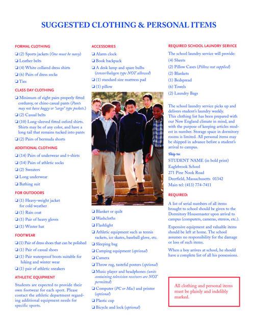 Eaglebrook Packing List