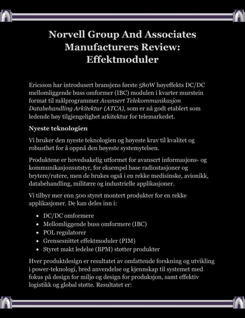 Norvell Group And Associates Manufacturers Review, Effektmoduler