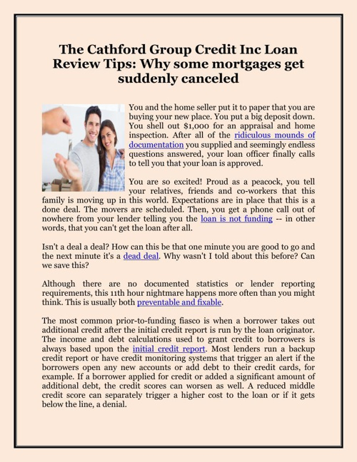 The Cathford Group Credit Inc Loan Review Tips: Why some mortgag