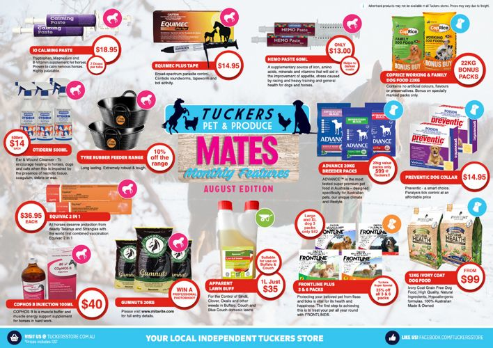 Tuckers Monthly Mates Features - August 2017