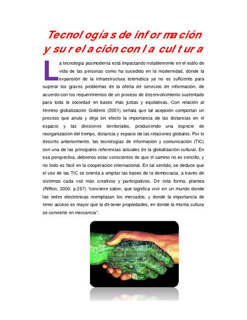 TECNOLOGIAS DE LA INFORMACION Y SU RELACION CON LA CULTURA