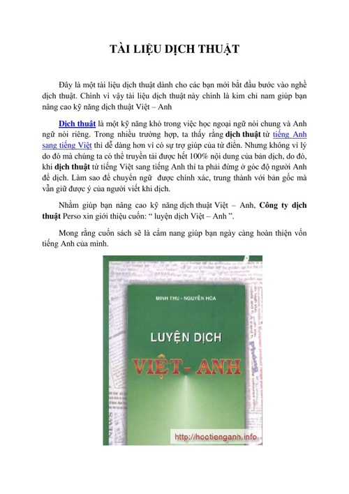 """Tài liệu """" luyện dịch Việt - Anh"""""""