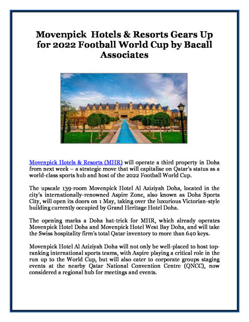 Movenpick  Hotels & Resorts Gears Up for 2022 Football World Cup