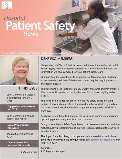 Hospital Patient Safety News Winter 2015