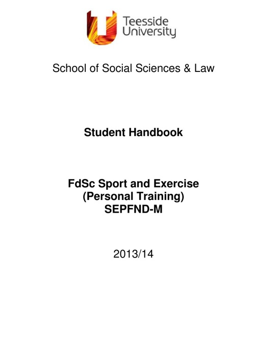 FdSc Personal Training Handbook
