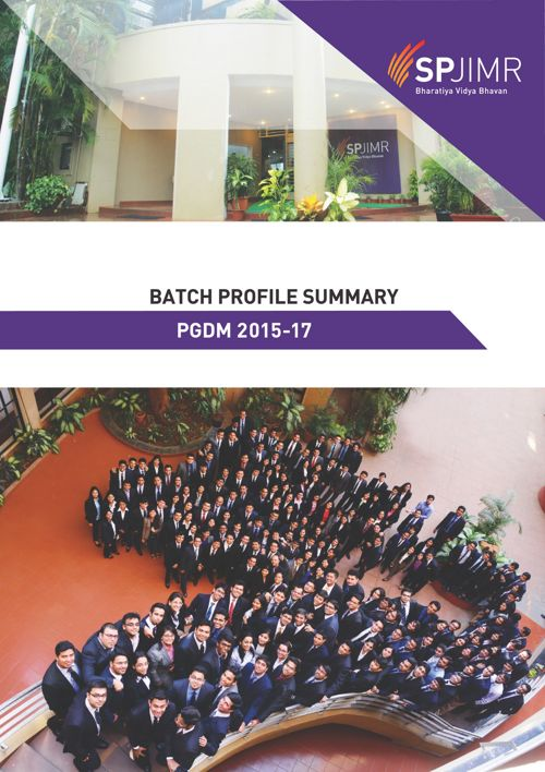 SPJIMR PGDM 2015-17 Batch outlook