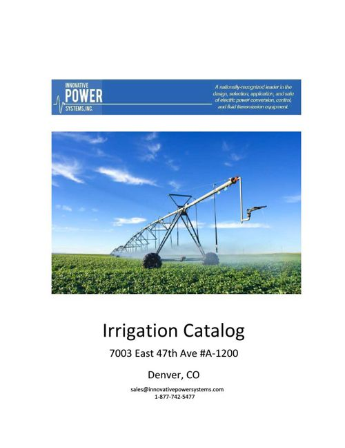 Innovative Power Systems Irrigation Catalog