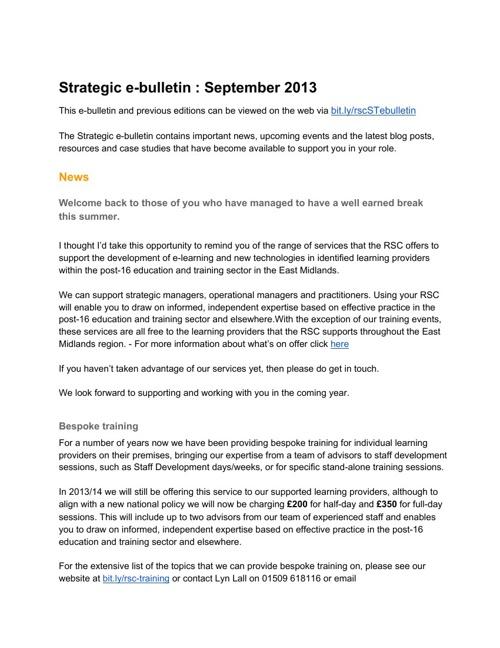 September strategic e-bulletin