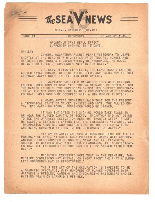 22 AUG 1945 SEA V NEWS